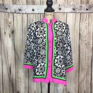 Bob Mackie SILK Pink Green Neon Blouse Medium